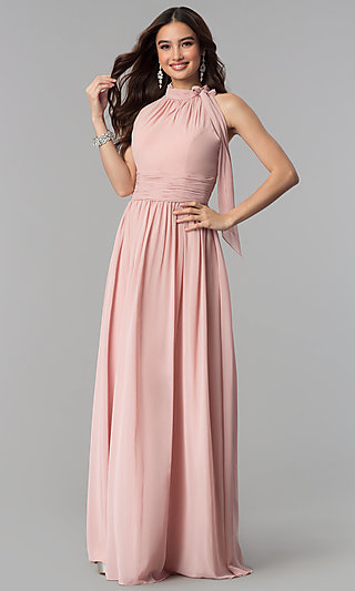 Long Sleeveless Dusty Rose High-Neck Prom Dress