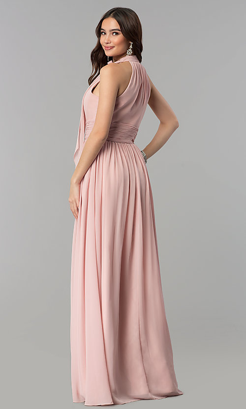 Image of long sleeveless dusty rose high-neck prom dress.  Style: JT-672d Back Image