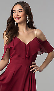Image of off-the-shoulder long dusty rose chiffon prom dress. Style: JT-671d Detail Image 2