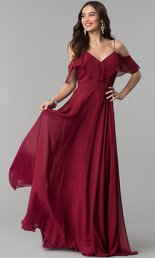 Image of off-the-shoulder long dusty rose chiffon prom dress. Style: JT-671d Detail Image 1