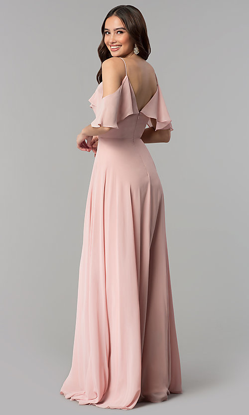 Image of off-the-shoulder long dusty rose chiffon prom dress. Style: JT-671d Back Image