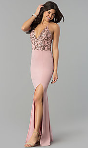 Image of rose pink v-neck long prom dress with sequin bodice. Style: MCR-2370r Detail Image 2