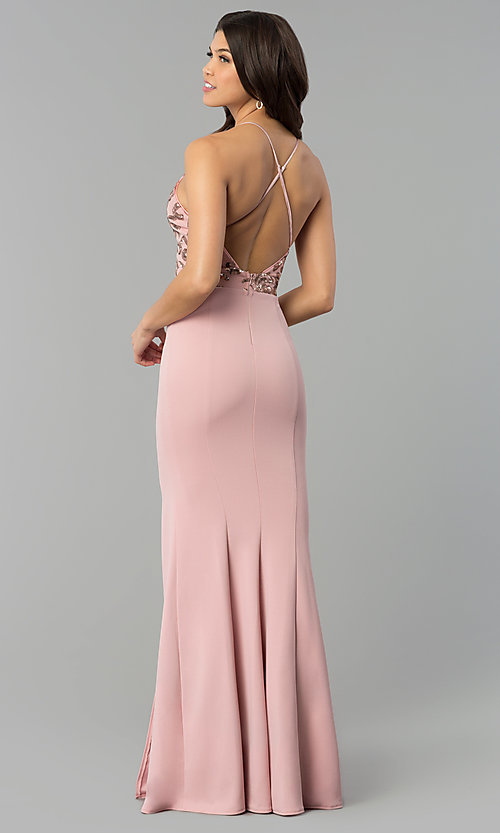 Image of rose pink v-neck long prom dress with sequin bodice. Style: MCR-2370r Detail Image 3