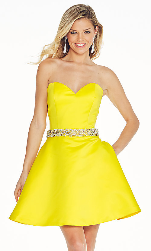 Fit-and-Flare Strapless Prom Dress with Pockets