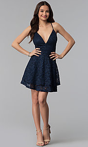 Image of short navy tiered-skirt glitter lace party dress. Style: EM-FQP-3473-430 Detail Image 3