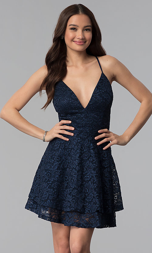 Image of short navy tiered-skirt glitter lace party dress. Style: EM-FQP-3473-430 Front Image