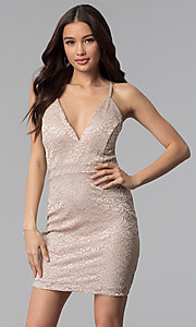 Image of short glitter lace v-neck party dress. Style: EM-FQQ-3473-257 Front Image