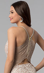 Image of short glitter lace v-neck party dress. Style: EM-FQQ-3473-257 Detail Image 2