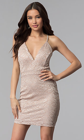 Short Glitter Lace V-Neck Party Dress