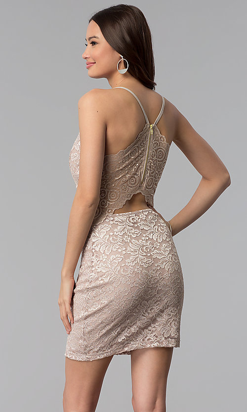 Image of short glitter lace v-neck party dress. Style: EM-FQQ-3473-257 Back Image