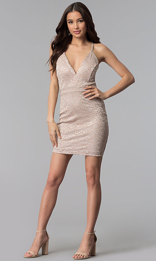 Image of short glitter lace v-neck party dress. Style: EM-FQQ-3473-257 Detail Image 3