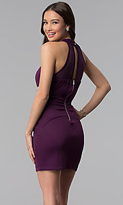Image of purple empire-waist high-neck short party dress. Style: EM-FTU-1003-500 Back Image