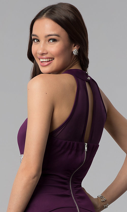 Image of purple empire-waist high-neck short party dress. Style: EM-FTU-1003-500 Detail Image 2