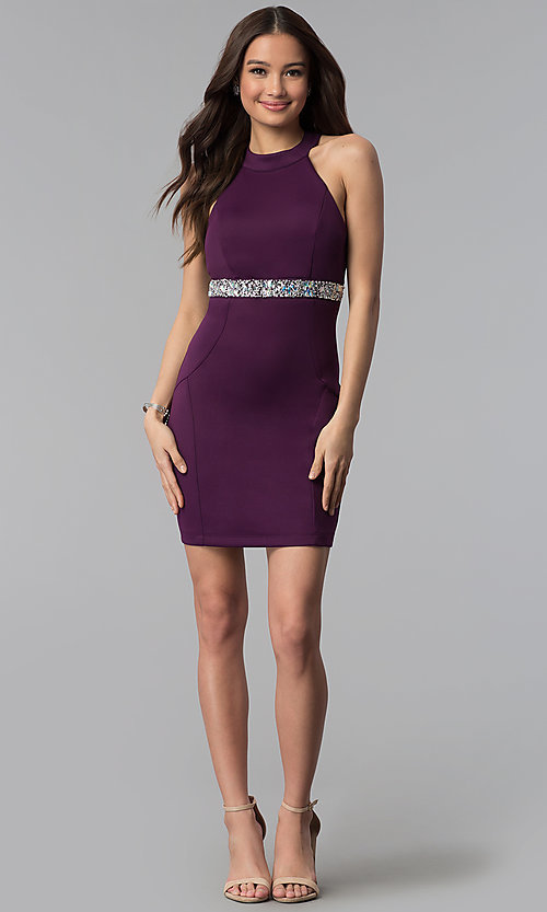 Image of purple empire-waist high-neck short party dress. Style: EM-FTU-1003-500 Detail Image 3