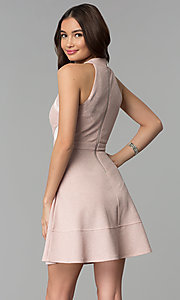 Image of glitter-knit short racer-front party dress. Style: EM-FKY-3646-690 Back Image