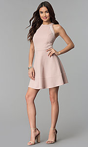 Image of glitter-knit short racer-front party dress. Style: EM-FKY-3646-690 Detail Image 3