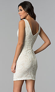 Image of empire-waist short v-neck lace party dress. Style: EM-ESD-2934-083 Back Image