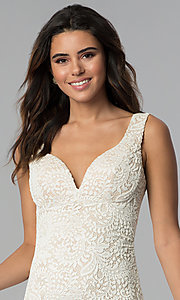 Image of empire-waist short v-neck lace party dress. Style: EM-ESD-2934-083 Detail Image 1