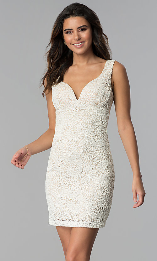 Image of empire-waist short v-neck lace party dress. Style: EM-ESD-2934-083 Front Image