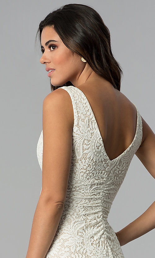 Image of empire-waist short v-neck lace party dress. Style: EM-ESD-2934-083 Detail Image 2