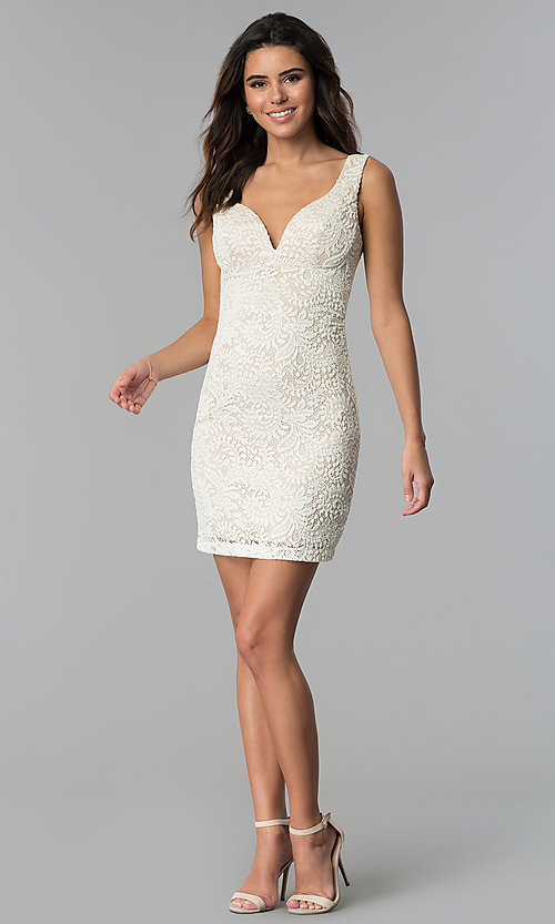 Image of empire-waist short v-neck lace party dress. Style: EM-ESD-2934-083 Detail Image 3