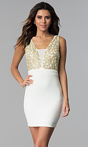 Image of short ivory party dress with gold lace applique. Style: EM-FTY-1003-123 Front Image