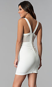Image of short ivory party dress with gold lace applique. Style: EM-FTY-1003-123 Back Image