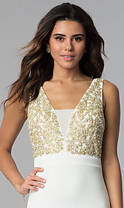 Image of short ivory party dress with gold lace applique. Style: EM-FTY-1003-123 Detail Image 1