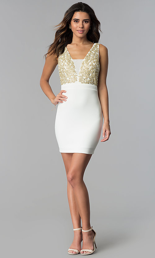 Image of short ivory party dress with gold lace applique. Style: EM-FTY-1003-123 Detail Image 3