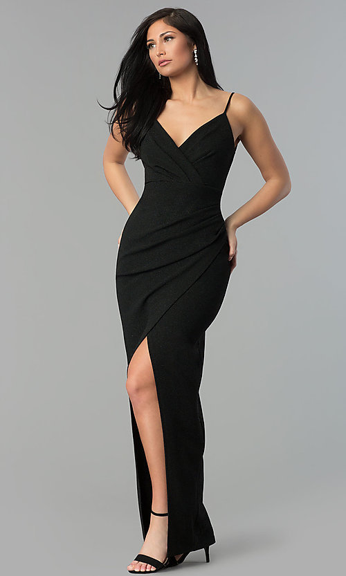 Image of black ruched v-neck glitter prom dress with slit. Style: MCR-2521 Front Image