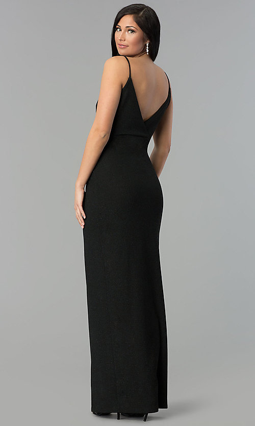 Image of black ruched v-neck glitter prom dress with slit. Style: MCR-2521 Back Image