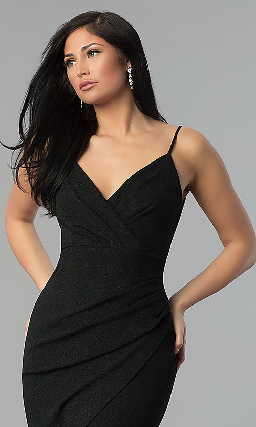 Image of black ruched v-neck glitter prom dress with slit. Style: MCR-2521 Detail Image 1