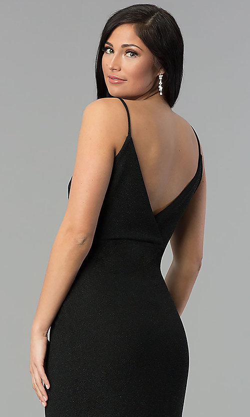 Image of black ruched v-neck glitter prom dress with slit. Style: MCR-2521 Detail Image 2