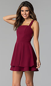 Image of garnet red short tiered-skirt party dress. Style: EM-FWM-3405-560 Front Image
