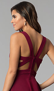 Image of garnet red short tiered-skirt party dress. Style: EM-FWM-3405-560 Detail Image 2