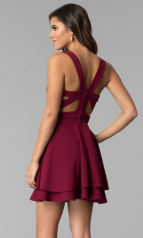 Image of garnet red short tiered-skirt party dress. Style: EM-FWM-3405-560 Back Image