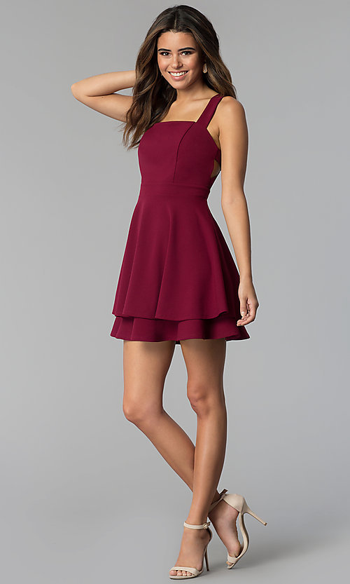 Image of garnet red short tiered-skirt party dress. Style: EM-FWM-3405-560 Detail Image 3
