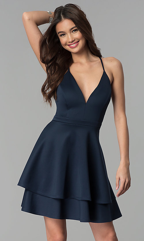 Image of short tiered-skirt v-neck party dress. Style: EM-FQP-1003-430 Front Image
