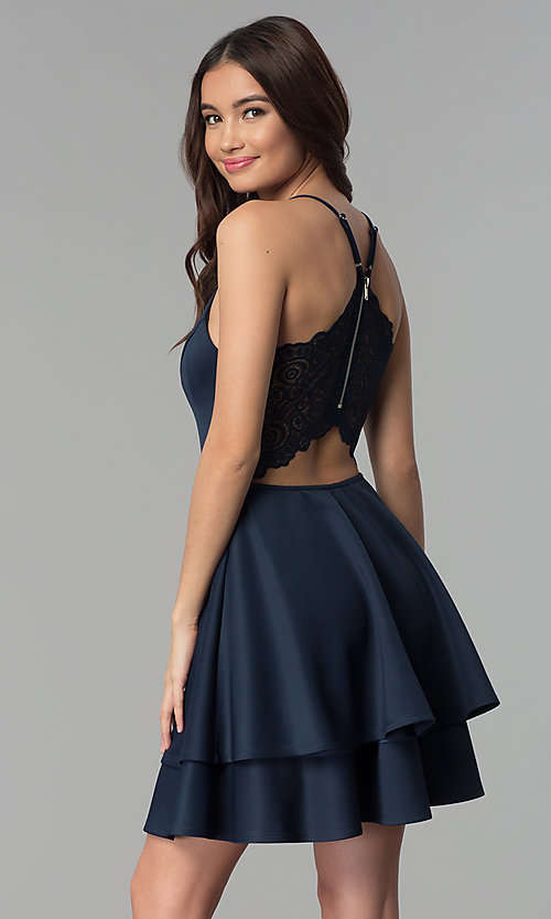 Image of short tiered-skirt v-neck party dress. Style: EM-FQP-1003-430 Back Image