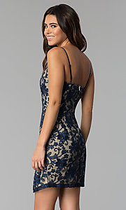 Image of lace short wedding-guest party dress in navy blue. Style: EM-FWR-2940-416 Back Image
