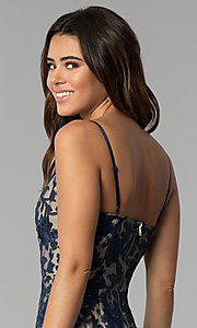 Image of lace short wedding-guest party dress in navy blue. Style: EM-FWR-2940-416 Detail Image 2