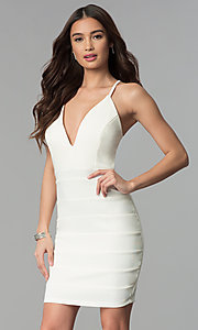Deep-V-Neck Short Ivory White Graduation Party Dress