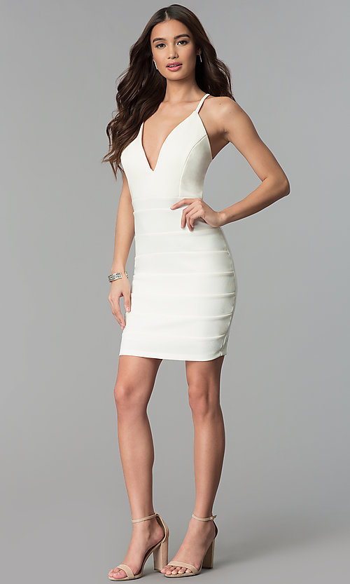 Image of deep-v-neck short ivory white graduation party dress. Style: EM-FPR-1027-120 Detail Image 3
