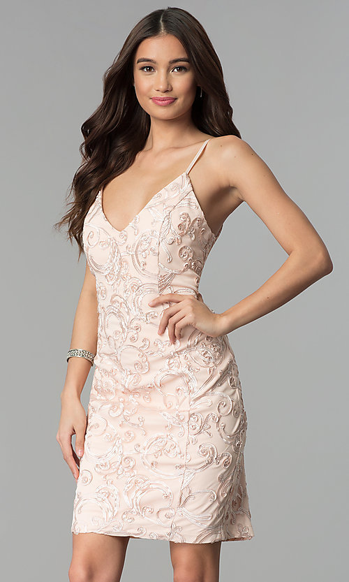 Image of short sleeveless ribbon-embroidered party dress. Style: EM-FXH-3753-690 Front Image