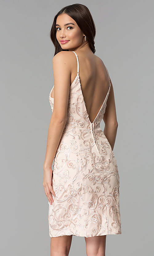 Image of short sleeveless ribbon-embroidered party dress. Style: EM-FXH-3753-690 Back Image