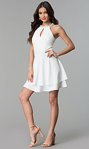 Image of ivory jeweled-neckline short graduation party dress. Style: EM-FXS-3405-120 Detail Image 3