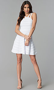Image of white-on-white striped short graduation party dress. Style: EM-FXR-3087-100 Detail Image 3
