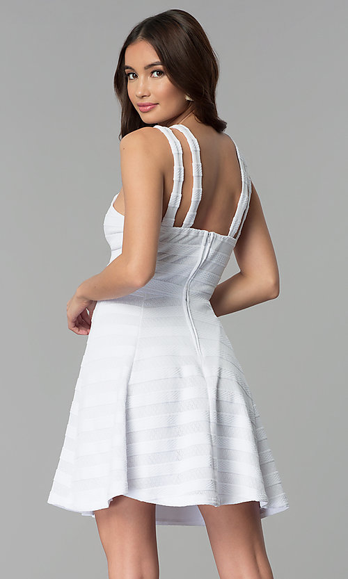 Image of white-on-white striped short graduation party dress. Style: EM-FXR-3087-100 Back Image