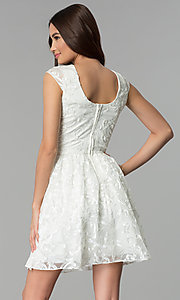 Image of v-neck short ribbon-embroidered graduation dress. Style: EM-FXG-3753-120 Back Image