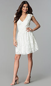 Image of v-neck short ribbon-embroidered graduation dress. Style: EM-FXG-3753-120 Detail Image 3